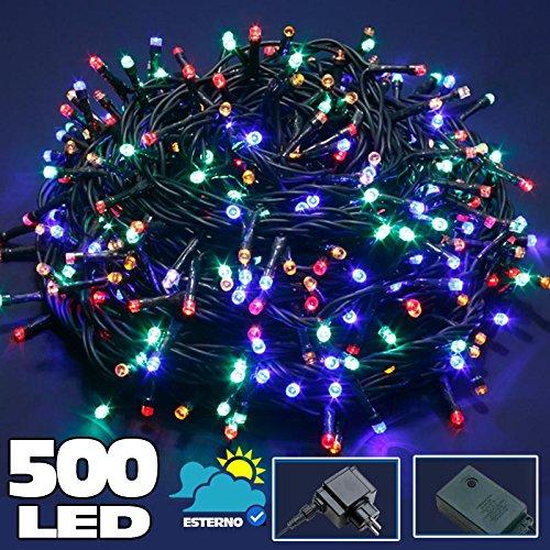Bakaji Lighting Catena Luminosa 500 Luci LED Lucciole Multicolor Controller 8 Funzioni Impermeabile Antipioggia per uso Interno ed Esterno, Luci di Natale, Cavo Verde, Luci per Albero di Natale