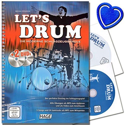 Let's Drum - Die moderne Schlagzeugschule von Benni Pfeifer mit 2 DVDs - perfekte Einstieg ins Schlagzeugspiel - Grundlagen und Spieltechniken - Für Anfänger, Wiedereinsteiger und leicht fortgeschrittene Spieler - mit bunter herzförmiger Notenklammer