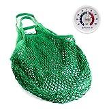 Lantelme 5999 Einkaufsnetz und Kühlschrankthermometer Set - Einkaufstasche XL aus Baumwolle Farbe grün - Die Umweltschonende Einkaufsmethode
