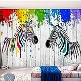 Coloré Zebra Graffiti Papier Peint Enfants Chambre Salon Moderne Personnalité Décor Intérieur 3D Papier Peint - 400X280cm