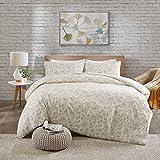 SCM Bettwäsche 200x200cm Taupe Blumen 3-teilig Bettbezug & Kissenbezüge 50x75cm in Stickerei-Look Ideal für Schlafzimmer Halsey