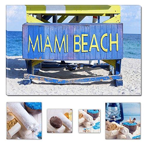 Miami Car Flag (Eco Light Art Wand Leinwand Bundle Miami Beach Florida USA, canvas, blau, M)