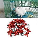 Gugutogo 30pcs Coniglio capezzolo Bevitore d'Acqua Waterer Mangime per pollame Bunny Rodent Mouse (Colore: Rosso e Argento)