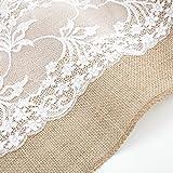 10 STK Jute Tischläufer mit Spitze 30 cm breit Sackleinen Vintage Tischband für rustikale Hochzeit Fest Party Feier Bevorzugte Dekorationen - 5