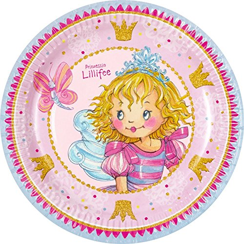 N LILLIFEE * für Kindergeburtstag und Mottoparty // Pappteller Partyteller Plates Kinder Geburtstag Princess Pink Rosa Mädchen ()