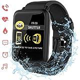 Montre Connectée, ACCEWIT Smartwatch Cardiofréquencemètre Etanche IP67 Fitness Tracker d'Activité Bracelet Intelligent Podometre Sport Bluetooth pour Femme Homme Enfant Android iOS Smartphone - Noir