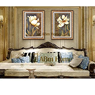 ABM Home - Flowers(66cm x 51cm/each Frame/2pcs set) Wall Art, Large Wall Picture Frame, Vintage Style,Framed Canvas, Large Poster (Gold A)