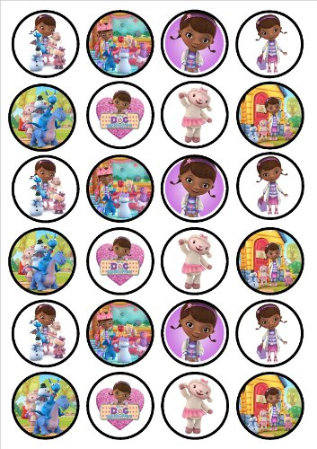 Doc Mcstuffins Edible PREMIUM THICKNESS SWEETENED VANILLA,Wafer Rice Paper Cupcake Toppers/Decorations