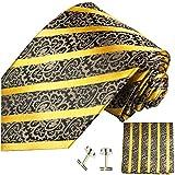 Paul Malone Krawatten Set 3tlg 100% Seide gold schwarz barock (Normallange 150cm)