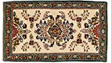 Lifetex.eu Teppich Moud ca. 155 x 95 cm · Beige · handgeknüpft · Schurwolle · Klassisch · hochwertiger Teppich · 15549