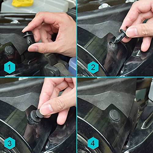 E-senior 240pcs Clips de montage de porte Garniture Clips de lit/Universal Auto en nylon Noir Clips Plastique Rivet — avec intérieur Panneau de garniture retrait Pry outil et outil d'extraction
