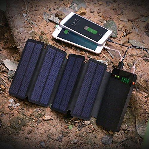 Solar Powerbank ALLPOWERS 10000mAh Faltbare mit 4 Solar Panel Ladegerät Outdoor Wasserdichte Externer Akku mit LED-Licht für iPhone, iPad, Samsung, Huawei, Tablet, Smartphone