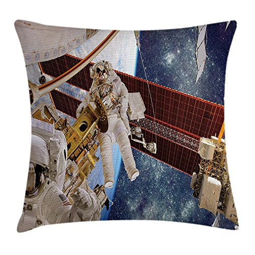 row Pillow Cushion Cover, Moon Spaceman on Surface of Orbit Background Cosmos Galaxy Solar Photo, Decorative Square Accent Pillow Case, 18 X 18 Inches, Brown Blue ()