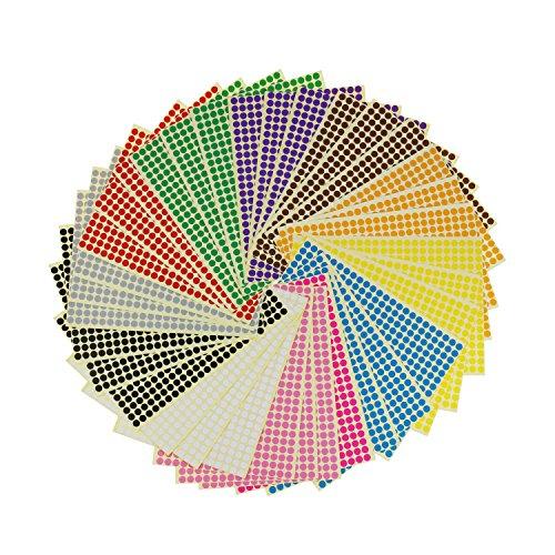 LJY rund 6mm Dot Aufkleber Farbe Codierung Etiketten, 12verschiedenen Farben sortiert, 36Blatt, 14688Punkte insgesamt