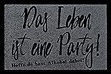 Interluxe FUSSMATTE Türvorleger DAS Leben IST EINE Party Wohnung Einzug Frau Mann Flur Dunkelgrau