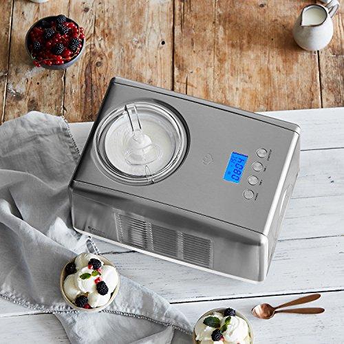 Sorbetière Emma avec compresseur auto-refroidissant 1,5 l machine à glace en acier inoxydable avec mise hors tension automatique, récipient à glace amovible, LCD