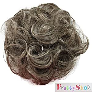 PRETTYSHOP Scrunchy Scrunchie Bun Updo Hairpiece Hair Ribbon Ponytail Extensions Curly Diverse Colors (greay blonde mix 9/613)