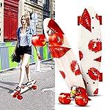 Hikole Kinder Mini Cruiser Skateboard mit LED Leuchtrollen, 55cm Komplett Board mit LED Rollen für Jungen Mädchen, Jugendliche und Erwachsene