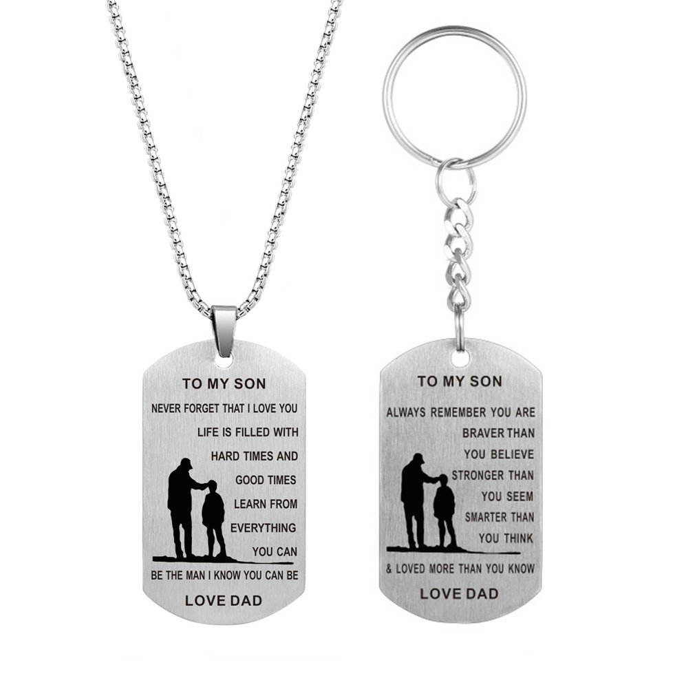 Dad Mum To Son Birthday Gift Dog Tag Necklace Stainless Steel Pendant and Key Chain Inspirational Jewelry
