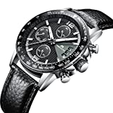 Mens Watches Chronograph Waterproof Sport Sub-dials Date Calendar Luxury Analogue Quartz Wrist Watch Gents Multifunction Fashion Casual Business Dress Watches with Black Genuine Leather Strap