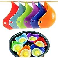 Uova  Cottura Uova in Camicia sempre perfette Colorful Extra spessa in silicone uova molds set di 6  colore casuale