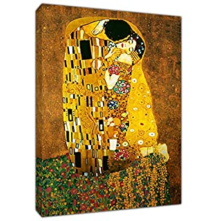 The KISS Oil Paint by Gustav Klimt RE Print ON Wood Framed Canvas Wall Art 30'' x 24'' inch-38mm Depth
