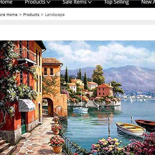 ningzi Haus Am Meer Landschaft DIY Malerei by Zahlen Kits Handgemalte Ölgemälde Acryl Bild Home Decoration Umrahmt 40 * 50cm