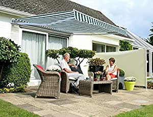 Tenda da Sole Avvolgibile manuale conveniente da 3.0mt a strisce bianche e verdi