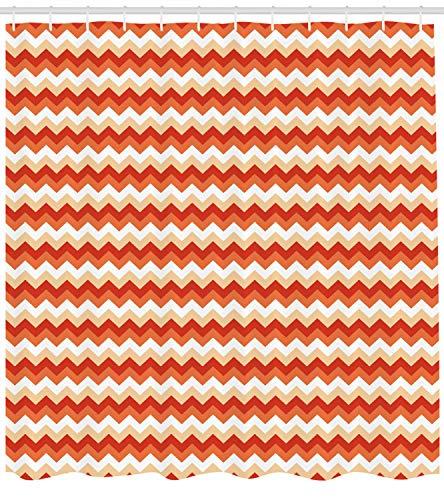 ABAKUHAUS Koralle Duschvorhang, Chevron Pfeile Geometrisch, mit 12 Ringe Set Wasserdicht Stielvoll Modern Farbfest und Schimmel Resistent, 175x180 cm, Orange Weiß Korallenrot (Koralle Chevron Duschvorhang)
