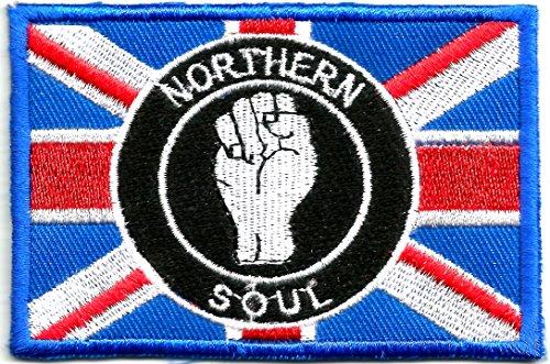 Badge con simbolo pugno Northern Soul ricamato sulla Union Jack   Decorazione a toppa per vestiti giacche magliette cappotti borse cappelli bors