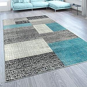 Paco Home Designer Wohnzimmer Teppich Modern Kurzflor Karo Design Türkis Grau Weiß, Grösse:200x280 cm