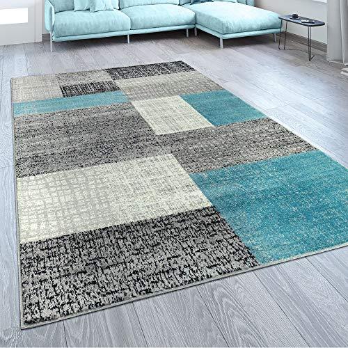 Paco Home Designer Wohnzimmer Teppich Modern Kurzflor Karo Design Türkis Grau Weiß, Grösse:240x340 cm