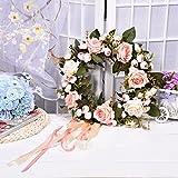 Cheerfulus Künstliche Rose Kranz Türkranz Wandschmuck Hochzeit Dekokranz Seiden Kunstblumen Blütenkranz Hause Fensterbank Hängen oder Legen Ornament