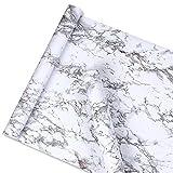 Glow4u Wasserdicht Grau Marmor Kontakt Papier Abnehmbarer Folie, Selbstklebend, Vinyl Regalen für Küche zinntheken Duett 45cm X 16Füße