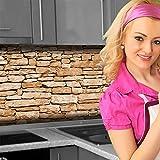 Küchenrückwand < Naturstein Braun > Premium Hart-PVC 0,4 mm selbstklebend 400x60cm