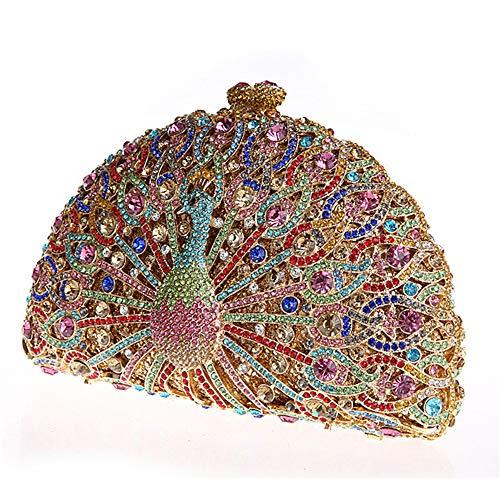 Kristall-perlen-geldbörse (ZTDXCL Damen Clutch Geschirrtasche Pfau Strass Metall Kristall Abendtasche Party Kleid Tanzparty Handtasche Abendtasche, Pink)