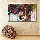 ZXP Arte Moderna Stampa Su Tela Pittura Ad Olio Tela Senza Telaio Abbracciare Uomini E Donne Soggiorno Famiglia Divano Parete Pittura Decorativa Quadri Da Camera Murale Pronto Da Appendere