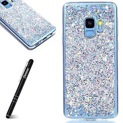 Slynmax Coque Galaxy S9,Etui Samsung Galaxy S9, en Silicone Paillette Strass Brillante de Flexible Plein-Corps TPU Résistant à la Goutte Bumper Housse Etui de Fin pour Samsung Galaxy S9, Argent