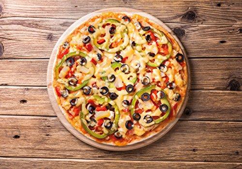 Wallario Wand-Bild 70 x 100 cm | Motiv: Italienische Pizza mit Peperoni, Oliven. Paprika und Käse | Direktdruck auf 5mm starke Hartschaumplatte | leichtes Material | günstig (Druck Kochen Vegetarische)