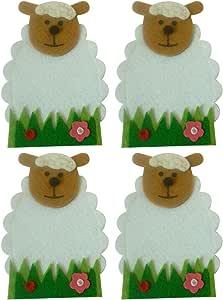 Amosfun Tasche Porta-titolari per Posate da 4 Posate di Pasqua con Motivo Floreale a Forma di Pecora