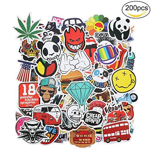 ivencase® 200 Pezzi DIY Adesivi Originali Vari Brand Creativi impermeabile Muro Stickers per PC Portatili, Auto Moto, Bicicletta, Abbellire Bagaglio, Skateboard, Snowboard, 200 Stili Diversi