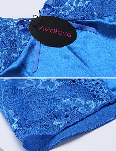 Avidlove Damen Negligee Sexy Satin Nachtwäsche Dessous Set Kurz Schlafanzüge Träger Nachthemd Babydoll Rückenfrei Pyjama mit Spitze Azur