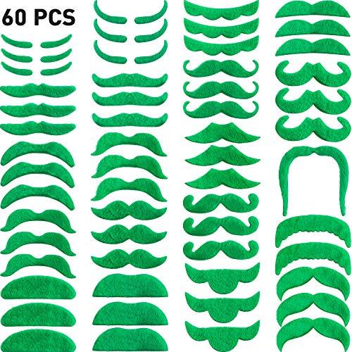 (Zhehao 60 Stücke Selbstklebender Gefälschter Schnurrbart St. Patrick's Tag Dekorationen Grün Schnurrbart Grün Bart für St.Patrick's Tag Party Supplies)