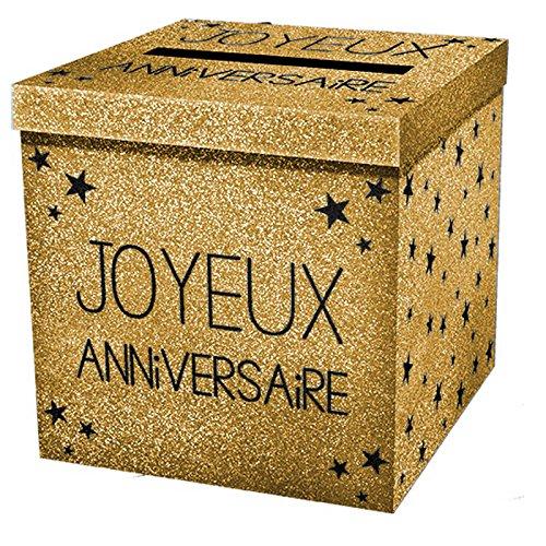 Urne pailletée 'Joyeux Anniversaire' - Doré 3701052814795