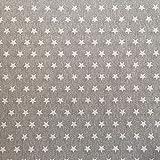 Beschichtete Baumwolle grau mit weißen Sternen (Meterware, Qualität Zum Nähen) (200 x 140 cm)