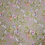 Stoff Meterware Baumwolle taupe Blumen Papagei Dekostoff