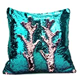 """SNUG STAR Two-color Decorative Pillow Case Square Paillette Throw Mermaid Sequins Cushion Covers 16 X 16"""" for Home Decor Party/Sofa/Bed(Green and Purple)"""