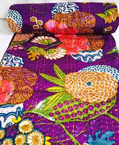 indien fait main Motif floral Kantha Couette Couvre-lit Coton Couvre-lit réversible ethnique vintage NEUF Unique double Queen Violet Bazzaree vendeur britannique (Double 228,6 x 274,3 cm)