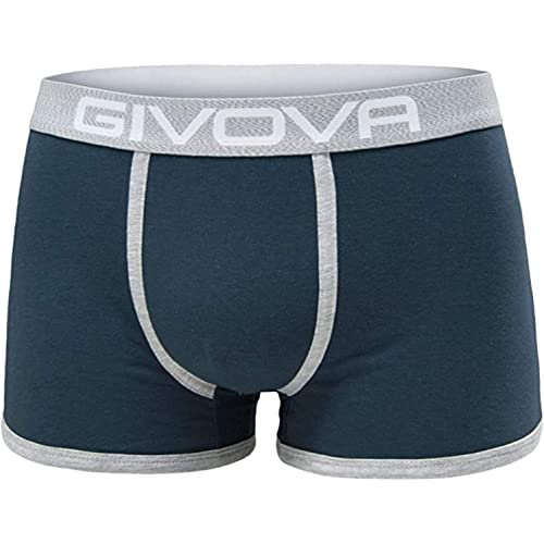 Givova® 6 Boxer Uomo Cotone Elasticizzato Intimo Mutande Uomo Colorate alla Moda 2 Neri 2 Grigi 2 Blu