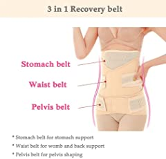 Jern 3 in 1 Women's Breathable Elastic Postpartum Postnatal Recovery Support Girdle Belt (Medium)